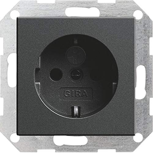 GIRA Anthrazit (0453 28) SCHUKO-Steckdose mit integriertem erhöhten Berührungsschutz (Shutter) und Symbol