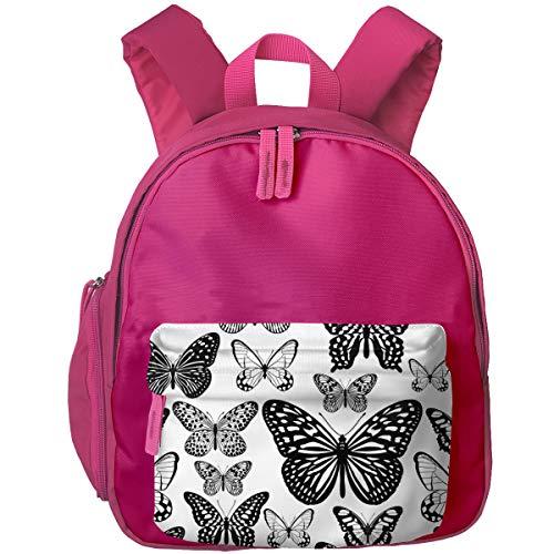 qingdaodeyangguo School 3D Printed Tropical Butterflies Black White Seamless Pattern Houlder Backpacks Student Book Bag for Boys