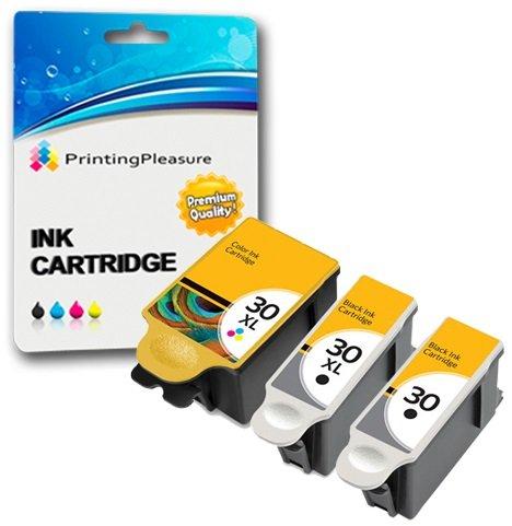 3 XL Druckerpatronen für Kodak ESP C100, C110, C115, C300, C310, C315, C330, C360, 1.2, 3.2, 3.2S, Office 2100, 2150, 2170 AIO, Hero 2.2, 3.1, 4.2, 5.1 | kompatibel zu Kodak 30B, 30CL