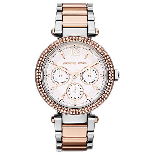 Michael Kors Parker Two Tone Rose Gold & Silver Stainless Steel Ladies...