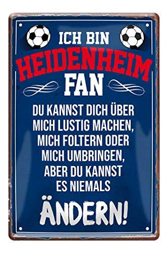 Blechschild Ich bin Heidenheim Fan - Metallschild Hoidna - Fans Ultras Anhänger - Deko Schild Artikel Zubehör - Haustür Eingang Garage Kinderzimmer Club Kneipe Küche - Souvenir Geschenk Idee - 20x30cm