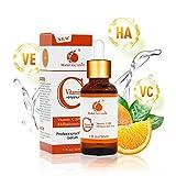 Sérum Vitamine C,20% Vitamine C & Acide Hyaluronique Botanique Anti-Âge Sérum,Renforce les défenses naturelles de la peau, hydrate la peau et réduit remarquablement les rides et ridules.