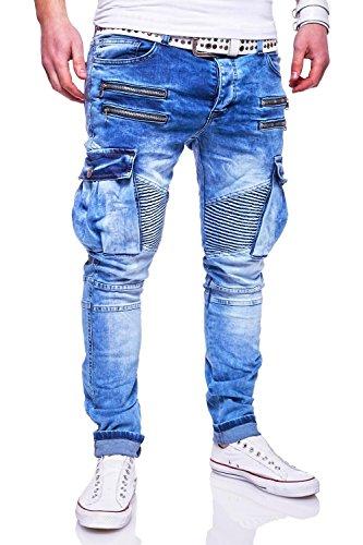 MT Styles Zipper Biker Jeans Slim Fit Hose RJ-3196-2 [Hellblau, W38/L32]