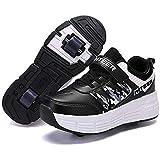 GWYX Zapatillas para Correr Zapatillas Deportivas con Ruedas, Zapatillas para Niños con Ruedas, Zapatillas con Ruedas De Moda, Zapatillas De Skate Zapatillas para Niños con 2 Ruedas,Black-32 EU