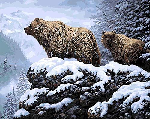 Yeesam Art DIY peinture avec chiffres pour enfants adultes débutants, Ours Brun sur la neige de montagne 40x50cm toile de lin acrylique stress moins nombre cadeaux de peinture