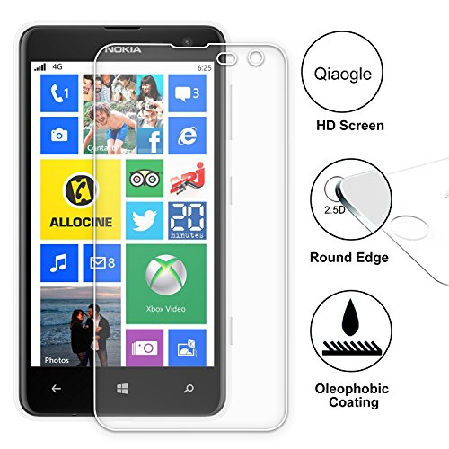 Qiaogle Premium Temperato di Protezione di Vetro Film per Nokia Lumia 625 Vetro Temperato Screen Protector (9H * 2.5D)