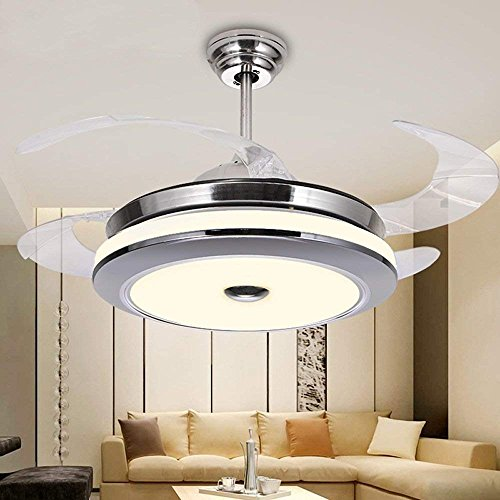 BIGBANBAN 42 inch Modern Ceiling Fan with Lights Retractable Blade Chandelier Fan with Remote LED Dimmable Ceiling Fans for Dining Room/Bedroom (Sliver)