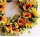 U'Artlines 40cm Natürliche Girlanden Haustür Kränze, Künstliche Sonnenblume Hängen Kranz für Home Party Indoor Outdoor Fenster Wand Hochzeit Dekoration(40 cm Sonnenblume) - 4