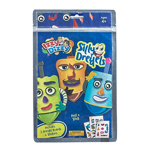 Izzy 'n' Dizzy Silly Dreidels - Includes 3 Dreidels Boards and Stickers - Hanukkah Arts and Crafts - Gifts and Games