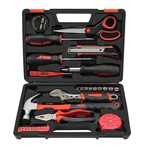 Juego de 31 herramientas para caja de herramientas, combinación manual multifunción, juego de gestión de mantenimiento diario familiar (color rojo)