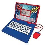 LEXIBOOK Spider-Man-Ordenador portátil Educativo y bilingüe español/inglés-Juguete para niños con 124 Actividades para Aprender, Juegos y música-Azul/Rojo