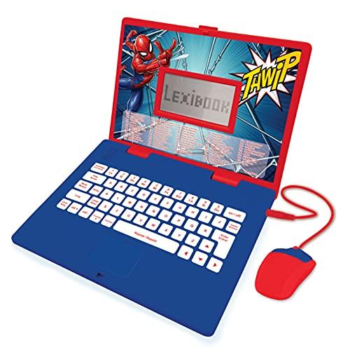Lexibook JC598SPi2 Spider-Man – pädagogisch und zweisprachig Laptop Spanisch/Englisch – Spielzeug für Kinder (Jungen und Mädchen) 124 Aktivitäten – Spielen und Musik mit Spiderman – Rot/Blau