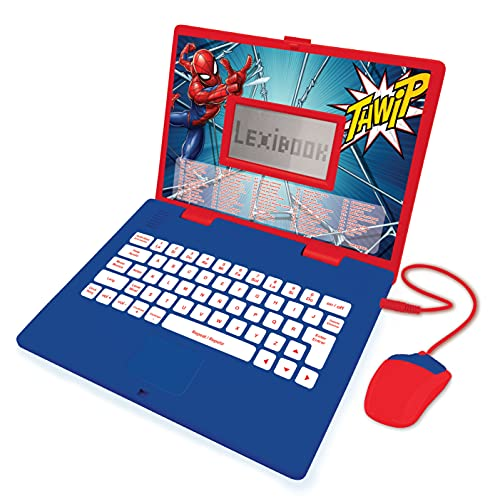 LEXIBOOK JC598SPi2 Spider-Man-Educational and Bilingual Laptop Spanish/English-Toy for Child Kid (Boys & Girls) 124 Activities, Learn Play Games and Music with Spiderman-Red/Blue
