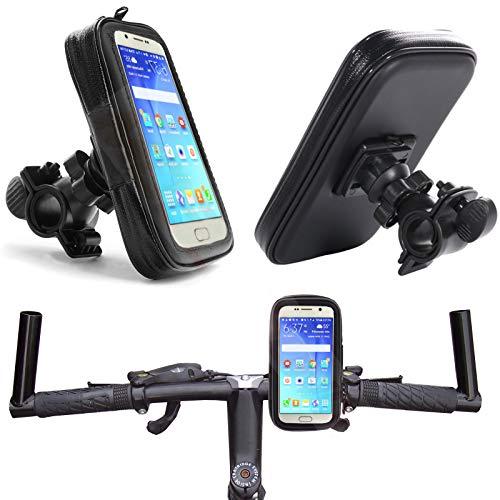MOELECTRONIX Fahrrad Halterung passend für Samsung Galaxy S21 5G S20 S10 S9 S8 DouS S7 Edge A10 M10 A41 A20e Note 10 | Wasserdicht Handy Halter Bike Holder | Lenker Tasche 360° drehbar 1A