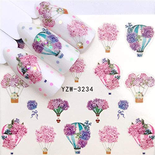 SRTYH Autocollant d'ongle Nail Art Nail Sticker Slider Tattoo Flower Water Decal Bonhomme de neige Full Wraps Designs Decals Make Nails More Beautiful JA