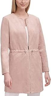 Womens Faux Suede Zipper Jacket Pink XL