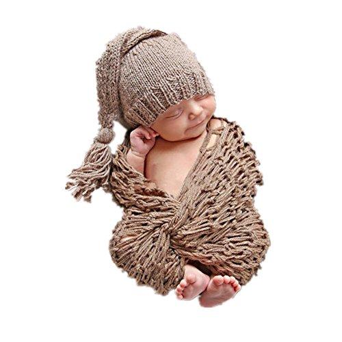 Neugeborenes Baby Mädchen/Jungen häkeln stricken Kostüm Fotografie Prop Outfits (Baby Mütze und Wickel Set)