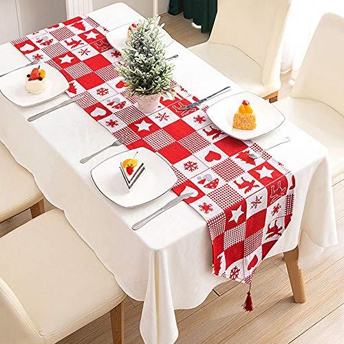 WELLXUNK® Weihnachten Tischläufer, Weihnachtstischläufer Kreative, Rot Weihnachten Tischdecke Abwaschbar Esstisch Läufer Dekorative Weihnachten Tischdekoration (A)