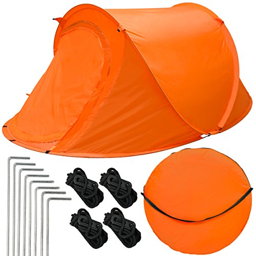 EYEPOWER Pop-up Tent 245x145x100cm for 2 people automatic instant dome igloo tent for camping festival incl accessories carrying bag Orange