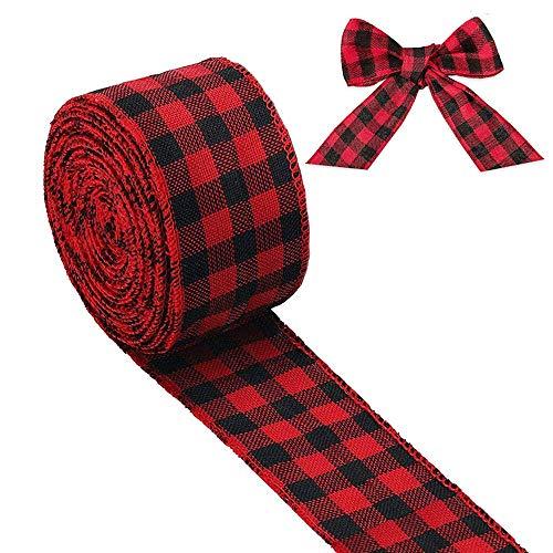 Johiux Rot-Schwarz Kariertes Schleifenband, Weihnachtsband, mit Metallrahmen, Kunsthandwerk, Dekoration, Juteband, Geschenkverpackung (Breite 5 cm)