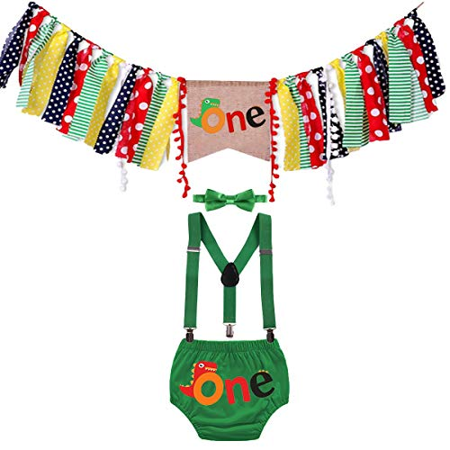 FMYFWY Baby 1st Birthday Outfits Dinosaur Cake Smash Photo Shoot Decorations Kit Highchair Banner Bloomers Suspender Bow Tie Green