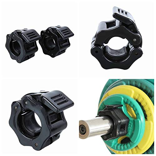 Yinrunx Standard Bar Collars Quick Release Barbell Clamps 1 Inch Safety Weight Plates Clips Pair Collar Clamp Standard Curl Bar Clip Fast Locking Weightlifting,Strength Training/Gym.