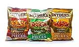 Snack pretzel Snyder di Hannover, formaggio cheddar, onesto / must / cipolla, jalapeno, set di 3, (3x125g)