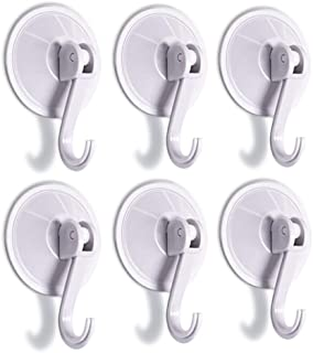 SUNDOKI Suction Cup Hooks, Kitchen Towel Hooks Removable Wall Vacuum Holder for Bathroom Tile, Glass and Mirror(6 Pack)
