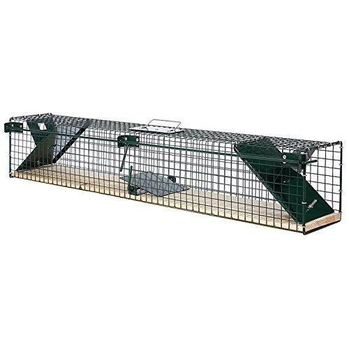 Moorland Safe 6043 XL Lebendfalle 100cm mit Holzboden als Marder-Falle, Katzen-Falle, Fuchs-Falle, 2 Eingänge & stabil…