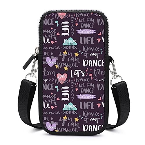 Bolso bandolera con correa de hombro extraíble Love Dance anticaída funda para teléfono cintura cartera al aire libre Bolsas niñas