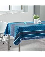 Les Jolie tafelkleed, rechthoekig, 148 x 240 cm, 100% polyester, vlekwerend, blauw
