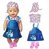 ebuddy Puppenkleider Einschließen Jeans Kleid Bluse und Kopftuch Socken für 43cm / 17 Zoll Neugeborene Babypuppen (Keine Puppe)