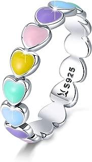 925 Sterling Silver Endless Love Heart Ring Stackable Finger Ring Black CZ for Women Girls Wedding Birthday