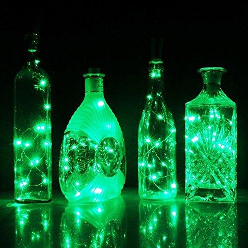 Aaa226 15/20 LED Bouteille de Vin en liège lumières Fil d'argent Guirlande lumineuse à piles, Green, 1.5M
