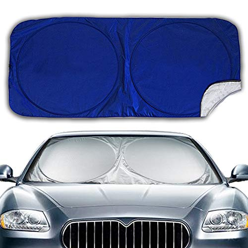 Big Hippo Windshield Sun Shade, Car Sunshades Keep Vehicle Cool Protect Your Car Front Windshield from Sun Heat & Glare Best UV Ray Visor Protector (Size:63X35inch)