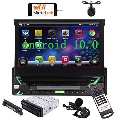 Autoradio 1 Din Android Radio Macchina Bluetooth USB Stereo Auto con Schermo 7 Pollici Navigatore GPS Impianto Audio Auto 1Din lettore Multimediale DAB SD FM/AM WiFi Mirrorlink Microfono Telecomando