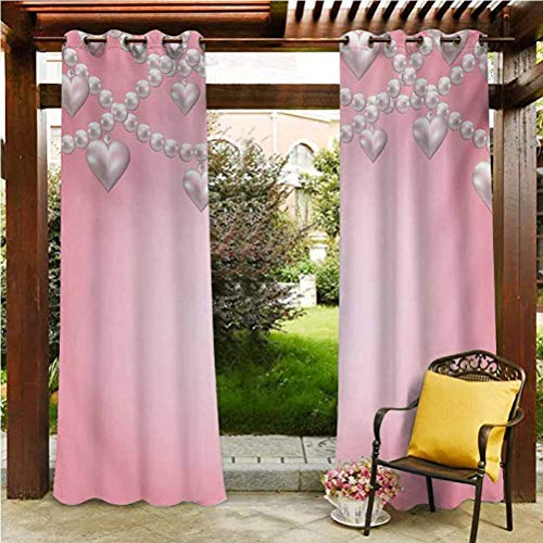 ScottDecor Pearls Blackout Curtains Gazebo Garden Furniture House Heart Pearl Necklace Design Vintage Accessory Love Valentines Celebrating Artwork Beige Pink 96' W by 84' L(K245cm x G214cm)