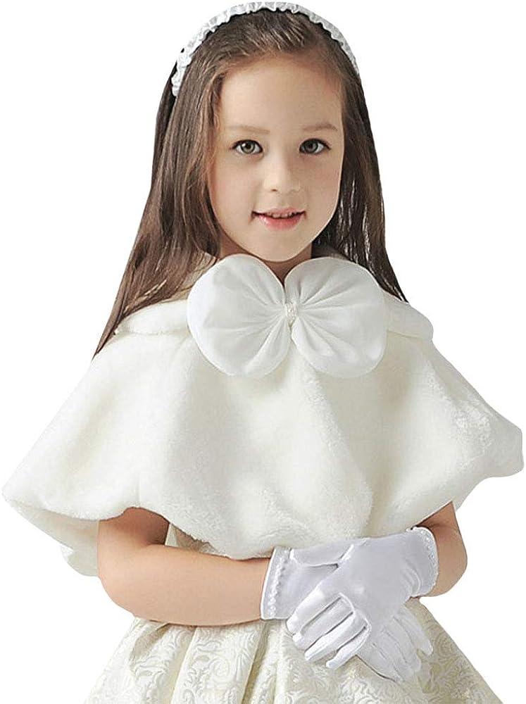 Rebecca Girl's Winter Warm Cloak Cape Wedding Flower Girls Faux Fur Wrap Shawl