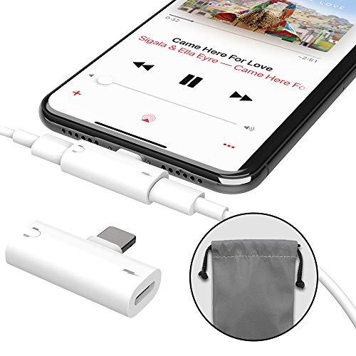 MiiKARE - Adaptador Divisor 2 en 1 para Auriculares y Carga iOS 10 o Posterior, Doble Puerto, Compatible con iPad, iPhone X/8/8+/7/7+/6/6+/5S
