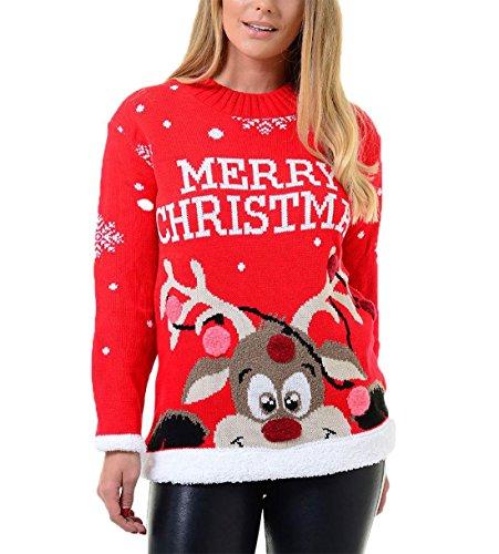 Islander Fashions Damen Damen Merry Xmas Rudolph Pompom 3D Neuheit Sweatshirt M�dchen Jumper Cheky Reindeer rot gro�