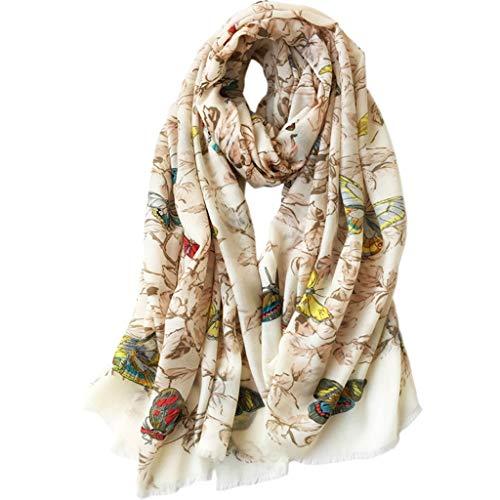 hkwshop Bufandas Chal Elegante y Fino de Lana Bufanda de Lana Fina Impreso mantón de Gran tamaño Suave Manta Bufandas Noble Mujeres Moda Bufandas