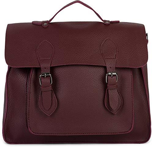 styleBREAKER Multifunktion Messenger Bag Umhängetasche mit Schnallen, Schultertasche, Rucksack, Aktentasche, Unisex 02012312, Farbe:Bordeaux-Violett