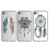 Beaulife - 3 Carcasas para iPhone 7, Funda, Elegante, de Silicona TPU, Fina, Ligera, Suave, Profesional, Nueva Cobertura Protectora para iPhone 8 - Carillón de Viento del Totem