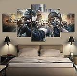 wjdymx Decoración De Pared 5 Piezas Fantasy Games Art HD Picture Escape from Tarkov Poster Wall Sticker Soldier Paintings Canvas para Decoración del Hogar