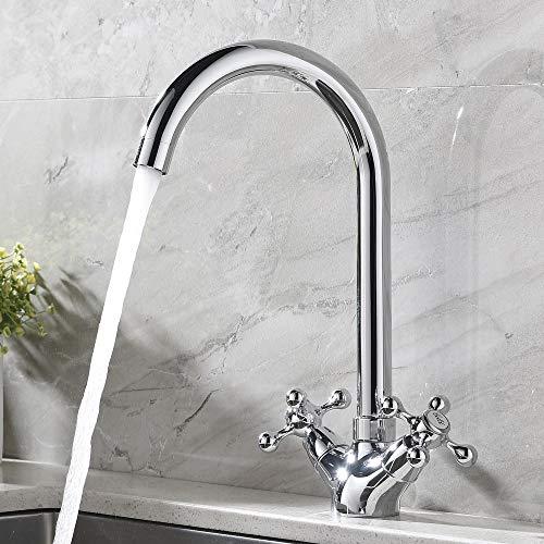 ATUM HOME Swivel Spout Dual Lever Double Handle Single Hole Chrome Kitchen Mixer Tap, Monobloc Mixer Hot & Cold Water Kitchen Sink Taps