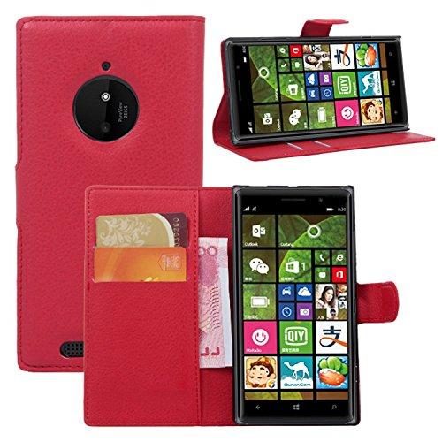 Tasche für Nokia Lumia 830 Hülle, Ycloud PU Ledertasche Flip Cover Wallet Hülle Handyhülle mit Stand Function Credit Card Slots Bookstyle Purse Design rote