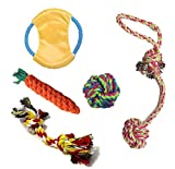 Pet Dog Chew Toys Set Dog Cotton Knot Ropes Chew Tug Toys for Chewing Tugging Playing (Set of 5)