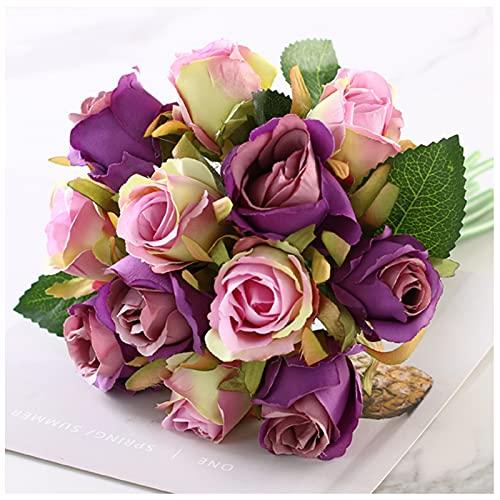 WDDLD Flores Artificiales, Plantas Artificiales, 12 Rosas Blancas Rosadas, Ramo De Boda Nupcial, Aniversario De Boda, DecoracióN De La Oficina En Casa (Estilo 1)