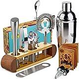 Kit à cocktails de barman avec support, jeu de 11 accessoires de bar Kit...