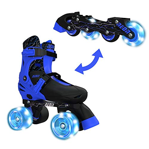 Yvolution Neon Combo Skates | 2-1 Quad and Inline Skates for Kids with LED Wheels | Adjustable Sizing (Blue, 12-2)